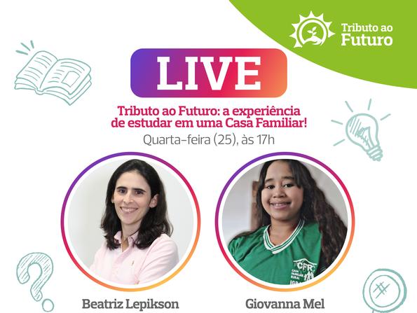 Adolescente beneficiada pelo PDCIS participa de live pelo Instagram da Fundação Odebrecht