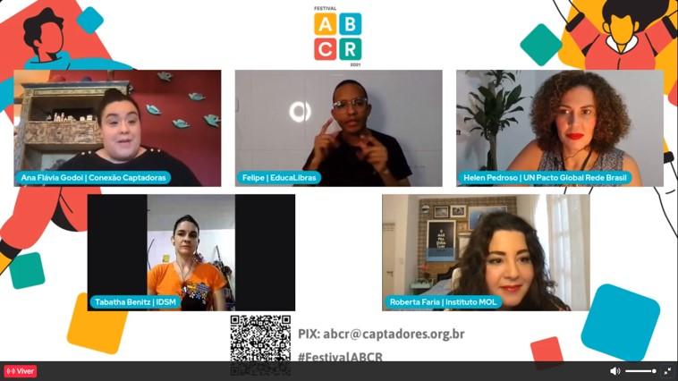 Quatro pessoas estão em uma reunião online, com a marca FESTIVAL ABCR.